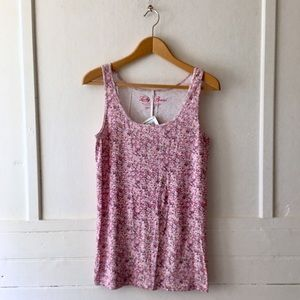 NWT Lucky Brand Pink Floral Print Tank Top